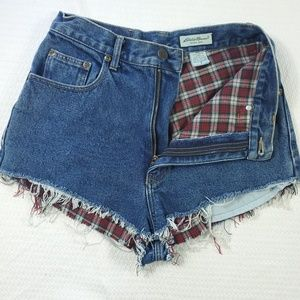 Eddie Bauer Flannel Lined Frayed Jean Shorts sz 8